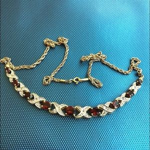 Jewelry - Gold plated X 0 Garnet? sterling silver necklace
